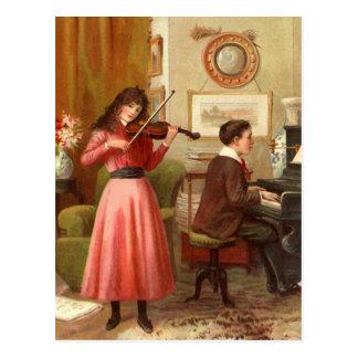 Ejemplo del vintage de la música en casa postal