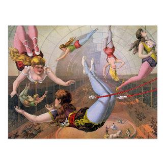 Ejemplo del vintage de los artistas de trapecio postales