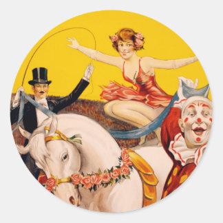 Ejemplo del vintage de los ejecutantes de circo pegatina redonda