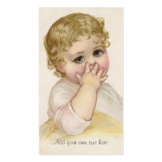 Ejemplo del vintage del beso del bebé hermoso tarjetas personales