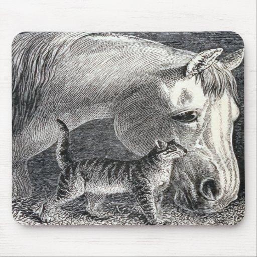 """Ejemplo del vintage del """"caballo y del gato"""" alfombrilla de raton"""