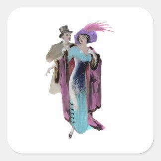 Ejemplo del vintage del ~ del vestido de noche pegatinas cuadradas