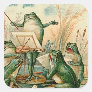 Ejemplo del vintage del estribillo de la rana calcomanía cuadradas
