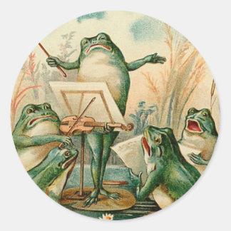 Ejemplo del vintage del estribillo de la rana etiquetas redondas
