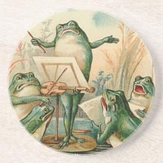 Ejemplo del vintage del estribillo de la rana posavasos personalizados