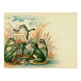 Ejemplo del vintage del estribillo de la rana tarjetas postales