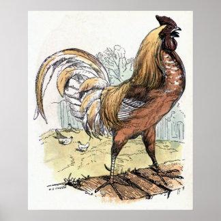 """Ejemplo del vintage del """"gallo"""" poster"""