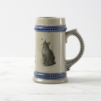 Ejemplo del vintage del gato que mira un insecto taza