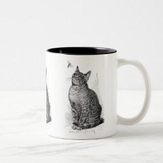 Ejemplo del vintage del gato que mira un insecto tazas de café