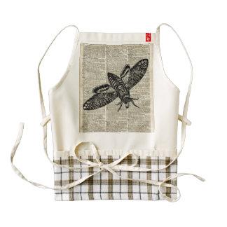 Ejemplo del vintage del insecto de la polilla en delantal zazzle HEART