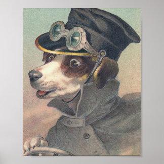 Ejemplo del vintage del perro del conductor póster