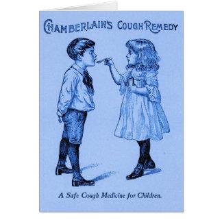 Ejemplo del vintage del remedio de la tos tarjeta de felicitación