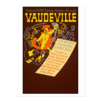 Ejemplo del vodevil del poster del vintage tarjeta postal