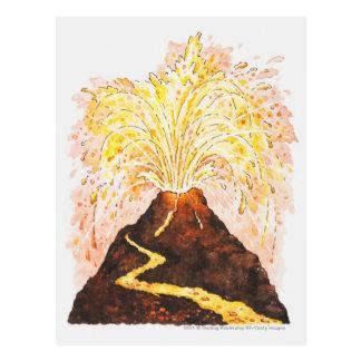 Ejemplo del volcán que entra en erupción postal