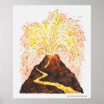 Ejemplo del volcán que entra en erupción póster