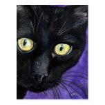 Ejemplo del Watercolour del gato negro del Postal