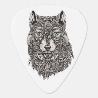 Ejemplo detallado de la cabeza salvaje del lobo plumilla de guitarra