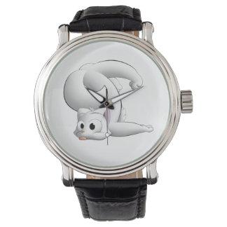 Ejemplo digital del dibujo animado del gato torpe relojes de pulsera