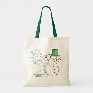 Ejemplo divertido de los copos de nieve del muñeco bolsas de mano