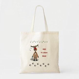 Ejemplo divertido del reno del navidad - bolso bolsa tela barata