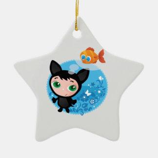 Ejemplo divertido lindo del vector del gato adorno navideño de cerámica en forma de estrella
