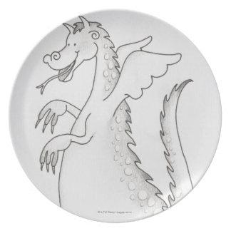Ejemplo dragón con alas sonriente con bifurcado platos de comidas