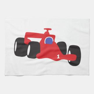 Ejemplo el competir con auto impreso en las toallas de mano