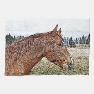 Ejemplo equino del arte del retrato del caballo toalla de cocina