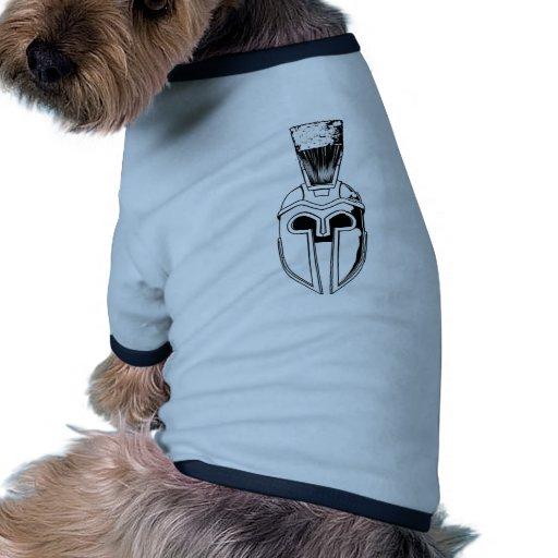 Ejemplo espartano monocromático del casco camisetas de perro