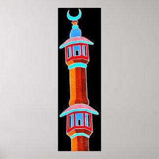 Ejemplo estilizado del alminar, multicolor póster