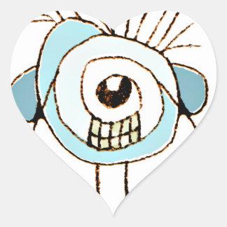 Ejemplo extraño lindo de la caricatura pegatina en forma de corazón