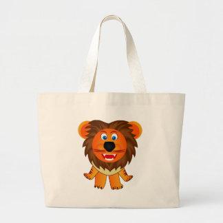 Ejemplo feliz lindo de la animación del león bolsa tela grande