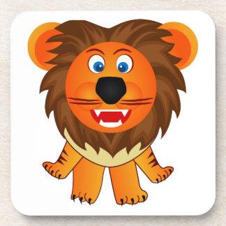 Ejemplo feliz lindo de la animación del león posavasos