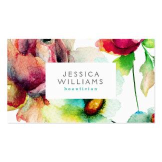 Ejemplo floral colorido de las acuarelas del tarjetas de visita