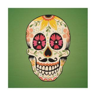 Ejemplo floral colorido del cráneo impresión en madera