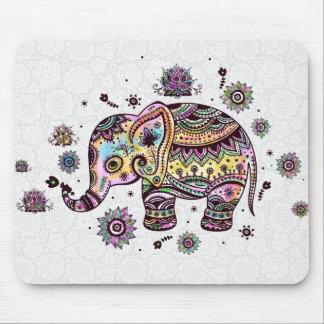 Ejemplo floral colorido lindo del elefante del alfombrillas de raton