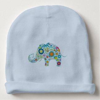 Ejemplo floral colorido lindo del elefante gorrito para bebe