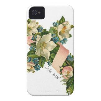 Ejemplo floral de la cruz de la flor del vintage - funda para iPhone 4