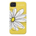 Ejemplo floral de la margarita de moda - amarillo iPhone 4 coberturas