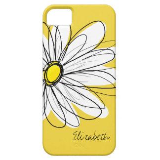 Ejemplo floral de la margarita de moda - amarillo iPhone 5 carcasas