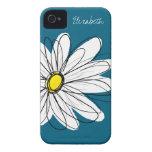 Ejemplo floral de la margarita de moda - azul y am Case-Mate iPhone 4 cárcasa