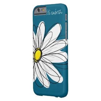 Ejemplo floral de la margarita de moda - azul y funda para iPhone 6 barely there