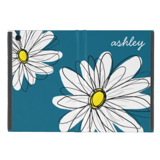 Ejemplo floral de la margarita de moda - azul y iPad mini funda