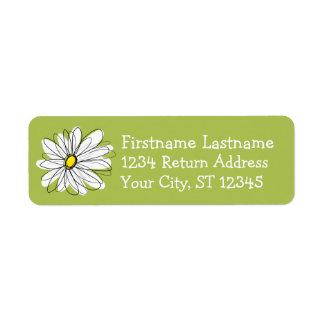 Ejemplo floral de la margarita de moda - cal y ama etiqueta de remite