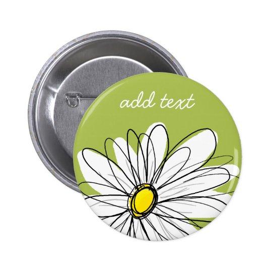 Ejemplo floral de la margarita de moda - cal y ama pin redondo de 2 pulgadas