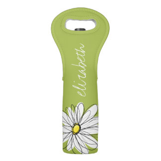 Ejemplo floral de la margarita de moda - cal y bolsas para botella de vino