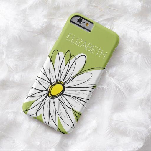 Ejemplo floral de la margarita de moda - cal y funda de iPhone 6 barely there