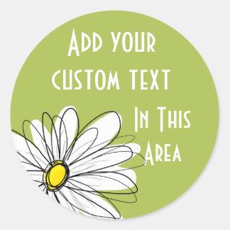 Ejemplo floral de la margarita de moda - cal y pegatina redonda