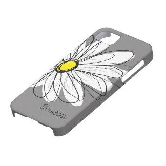 Ejemplo floral de la margarita de moda - gris y am iPhone 5 coberturas