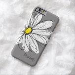 Ejemplo floral de la margarita de moda - gris y funda de iPhone 6 barely there